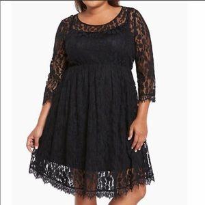 Torrid Black Lace Dress EUC